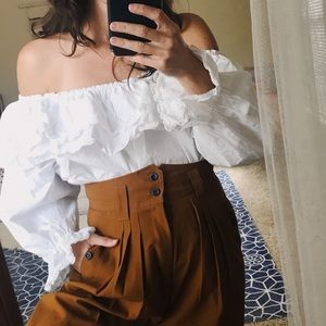 Tops - Mexican cotton lace off shoulder ruffle top